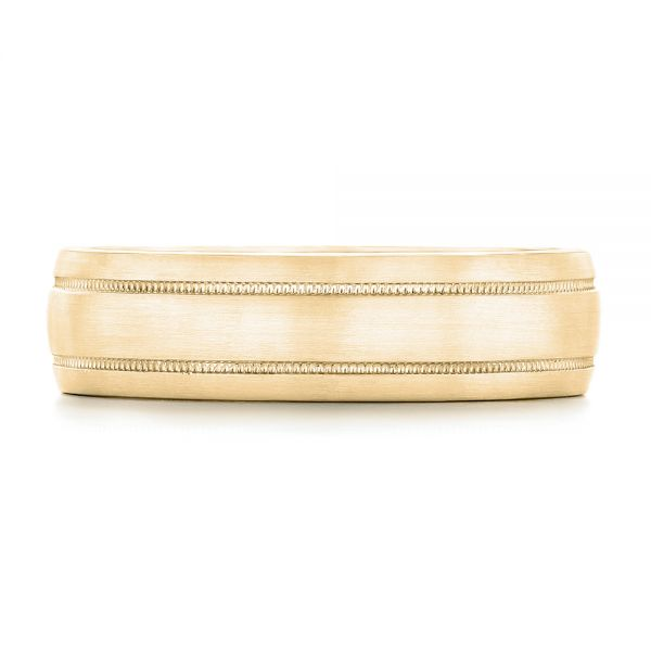 14k Yellow Gold 14k Yellow Gold Custom Brushed Men's Wedding Band - Top View -