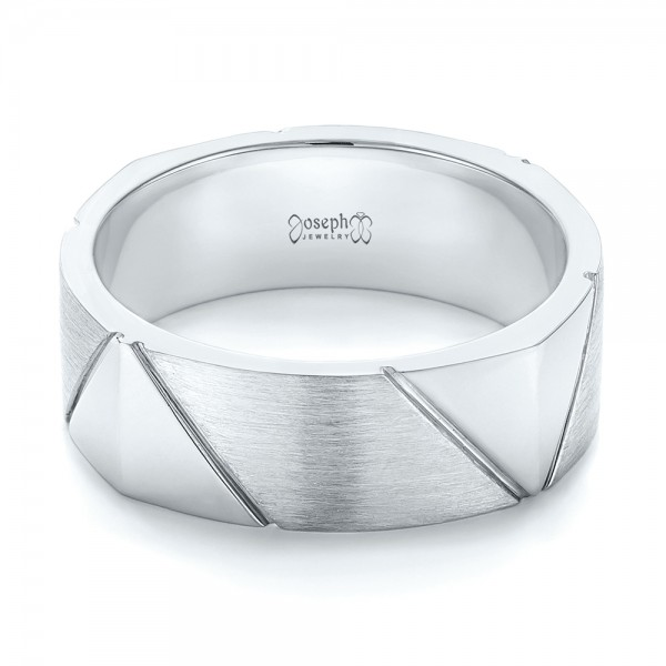 Custom Brushed Men's Wedding Band - Flat View -  103360 - Thumbnail