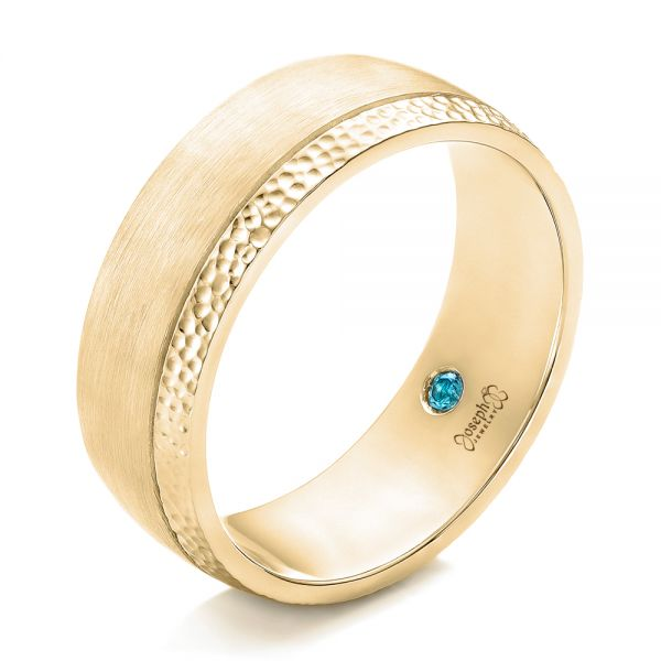 18k Yellow Gold 18k Yellow Gold Custom Brushed And Hammered Men's Wedding Band - Three-Quarter View -  101983