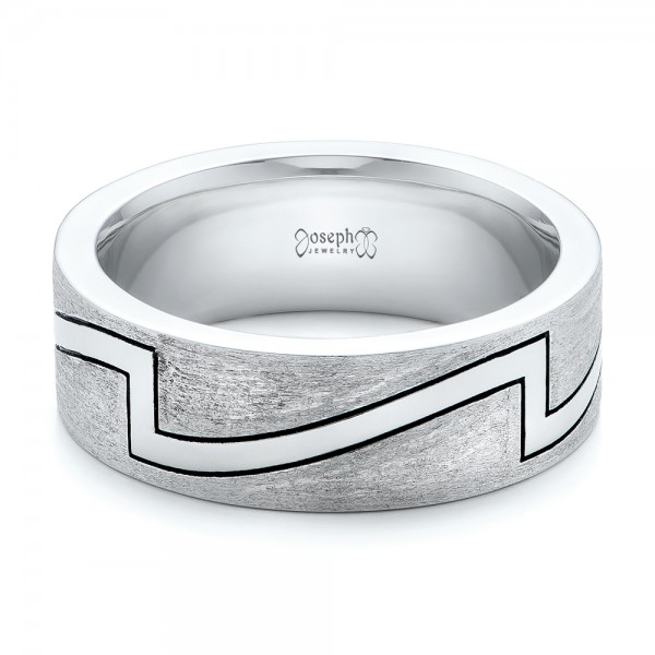 Custom Brushed and Polished Men's Band - Flat View -  102174 - Thumbnail