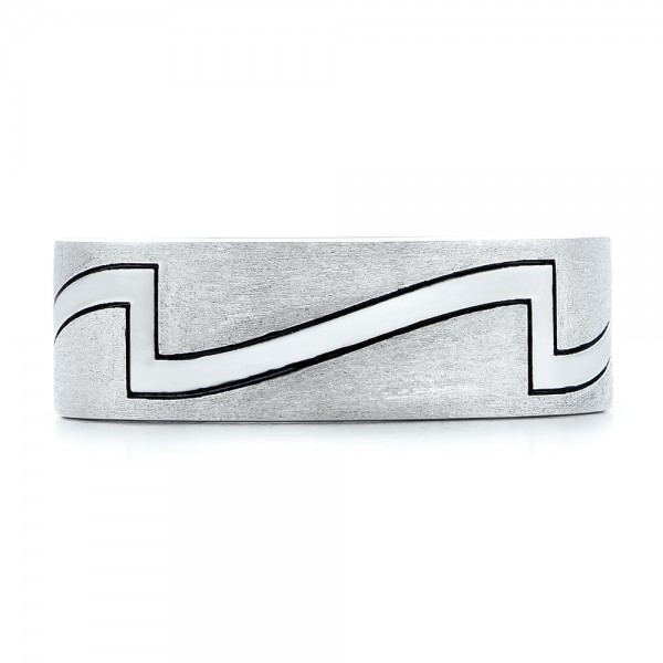 Custom Brushed and Polished Men's Band - Top View -  102174 - Thumbnail