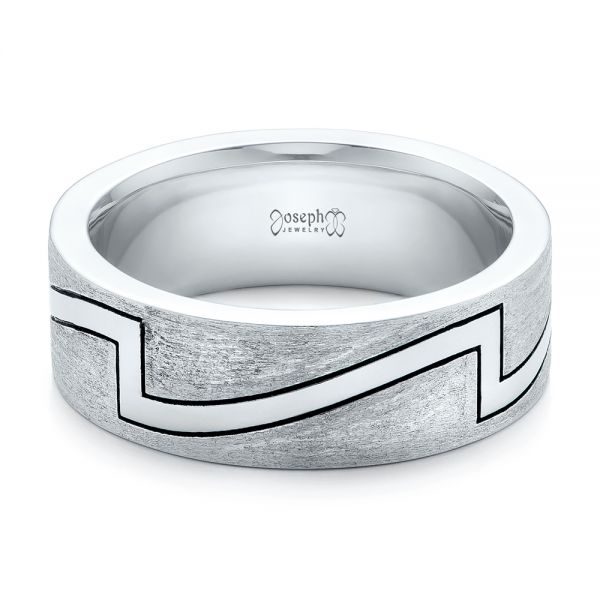 14k White Gold Custom Brushed And Polished Men's Band - Flat View -