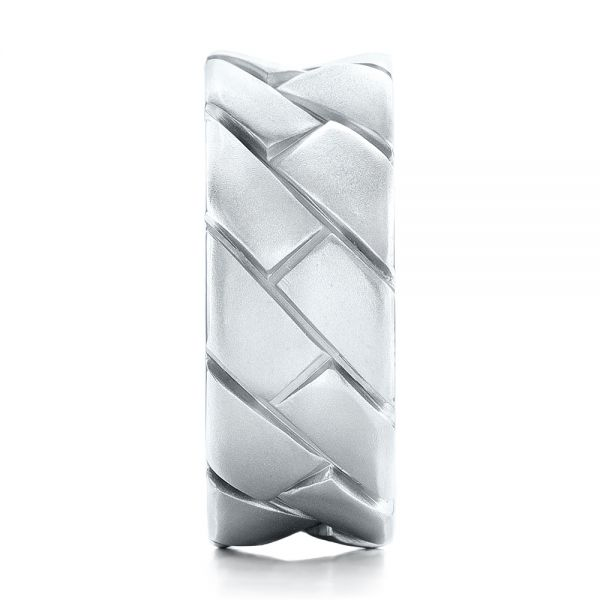 Platinum Custom Brushed And Woven Men's Band - Side View -