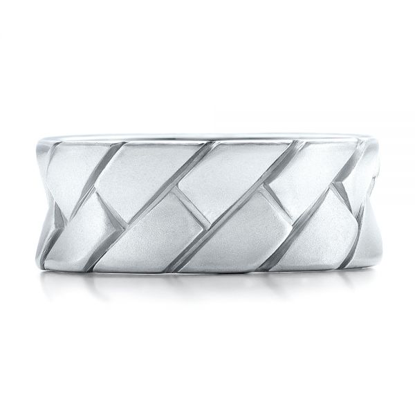 Platinum Custom Brushed And Woven Men's Band - Top View -