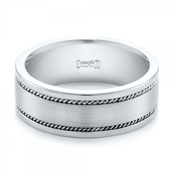 Custom Cable and Brushed Finish Unisex Band - Laying View