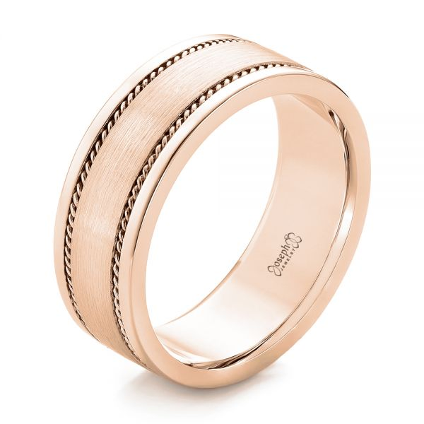 18k Rose Gold 18k Rose Gold Custom Cable And Brushed Finish Unisex Band - Three-Quarter View -