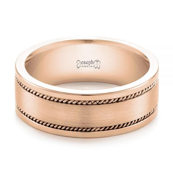 18k Rose Gold 18k Rose Gold Custom Cable And Brushed Finish Unisex Band - Flat View -