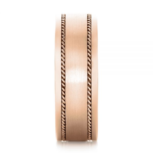 18k Rose Gold 18k Rose Gold Custom Cable And Brushed Finish Unisex Band - Side View -