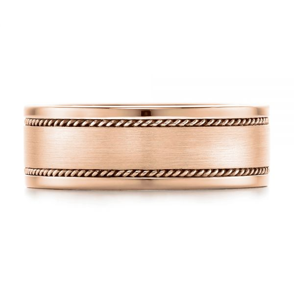18k Rose Gold 18k Rose Gold Custom Cable And Brushed Finish Unisex Band - Top View -