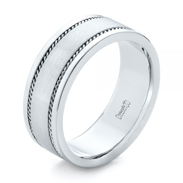 Platinum Platinum Custom Cable And Brushed Finish Unisex Band - Three-Quarter View -