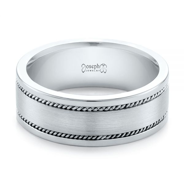 Platinum Platinum Custom Cable And Brushed Finish Unisex Band - Flat View -