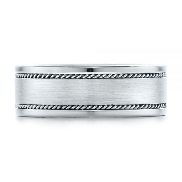 Platinum Platinum Custom Cable And Brushed Finish Unisex Band - Top View -