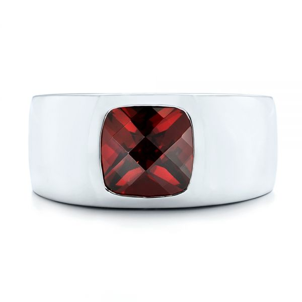 Platinum Custom Checkerboard Garnet Men's Band - Top View -  103137