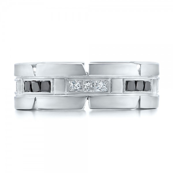 Custom Diamond Men's Wedding Band - Top View -  102208 - Thumbnail