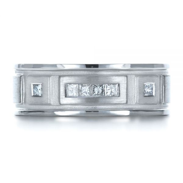 Platinum Custom Diamond Men's Band - Top View -