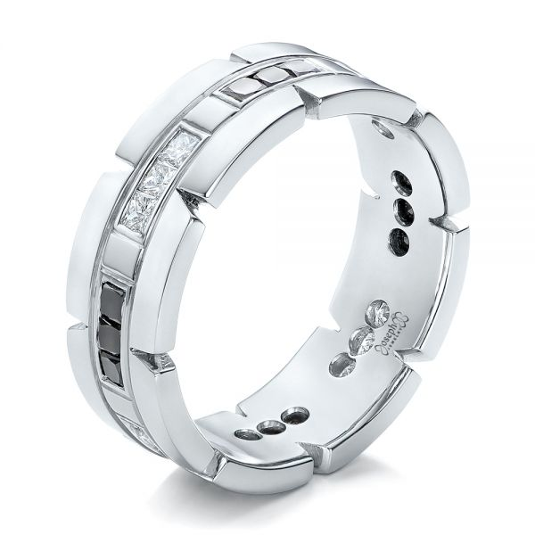 Platinum Custom Diamond Men's Wedding Band - Three-Quarter View -