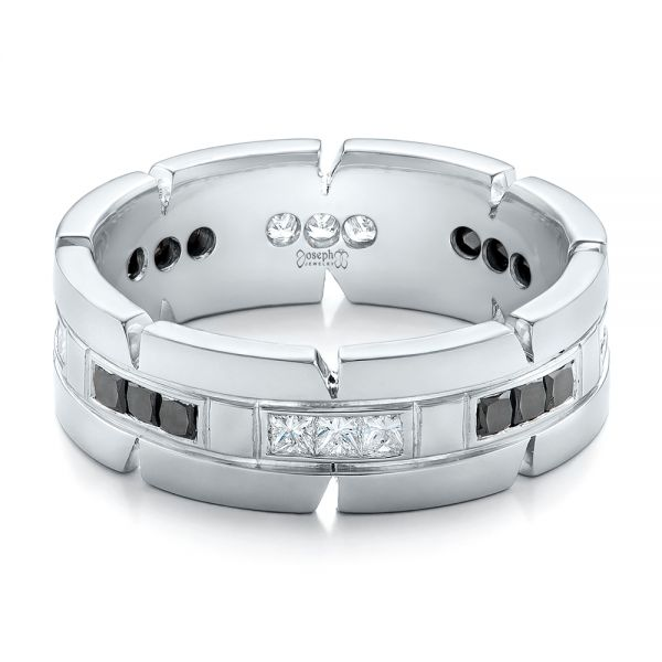 Platinum Custom Diamond Men's Wedding Band - Flat View -