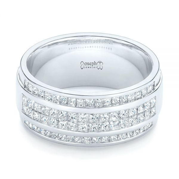 14k White Gold Custom Diamond Men's Wedding Band - Flat View -