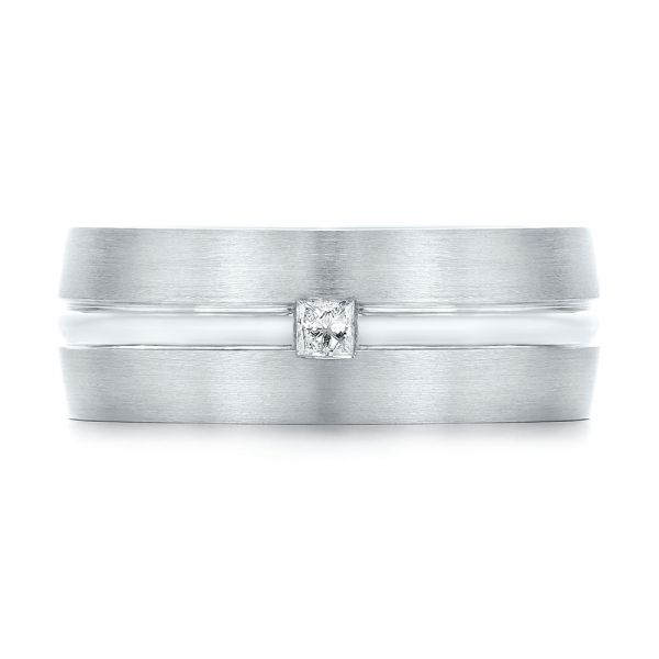 14k White Gold Custom Diamond Men's Wedding Band - Top View -  103220
