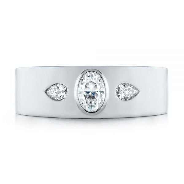 Custom Diamond Men's Wedding Band - Top View -  103840 - Thumbnail