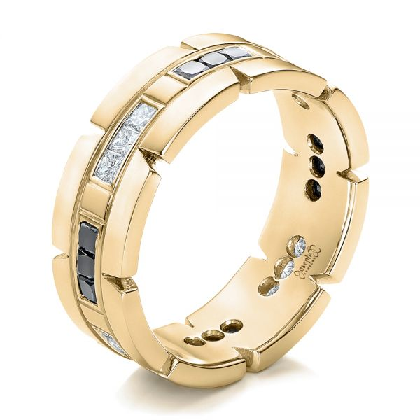 18k Yellow Gold 18k Yellow Gold Custom Diamond Men's Wedding Band - Three-Quarter View -