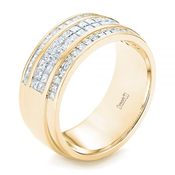 14k Yellow Gold 14k Yellow Gold Custom Diamond Men's Wedding Band - Three-Quarter View -  103133