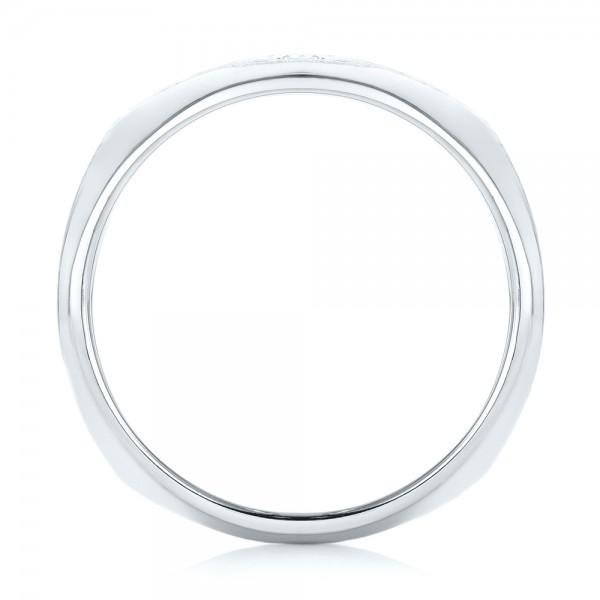 Custom Diamond Men's Wedding Band - Finger Through View
