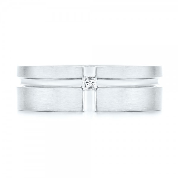 Custom Diamond Men's Wedding Band - Top View -  102948 - Thumbnail