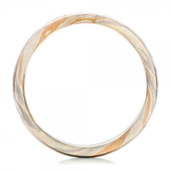 Custom Diamond Mokume Men's Wedding Band - Finger Through View
