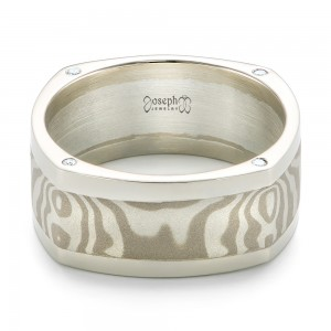 Custom Diamond Mokume Men's Wedding Band