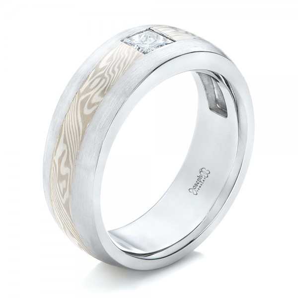 Custom Diamond Mokume Wedding Band