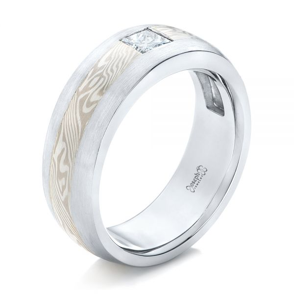 Custom Diamond Mokume Wedding Band - Image