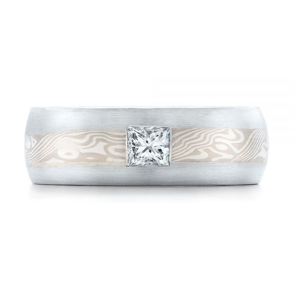18k White Gold And 14K Gold Custom Diamond Mokume Wedding Band - Top View -