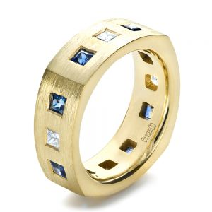 Custom Diamond and Blue Sapphire Men's Band - Image