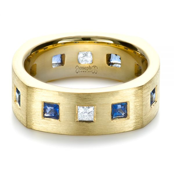 18k Yellow Gold Custom Diamond And Blue Sapphire Men's Band - Flat View -