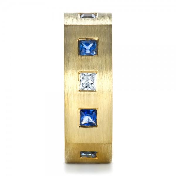 Custom Diamond and Blue Sapphire Men's Band - Side View