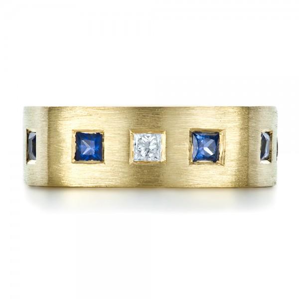 Custom Diamond and Blue Sapphire Men's Band - Top View