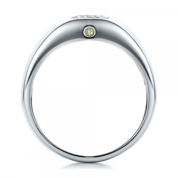 Custom Diamond and Peridot Men's Wedding Band - Finger Through View