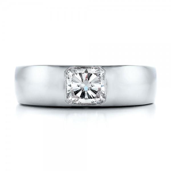 Custom Diamond and Peridot Men's Wedding Band - Top View