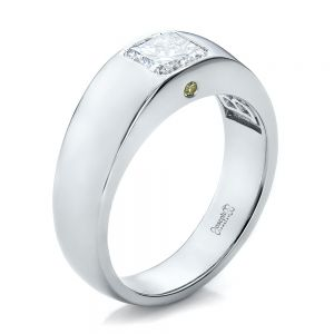 Custom Diamond and Peridot Men's Wedding Band - Image