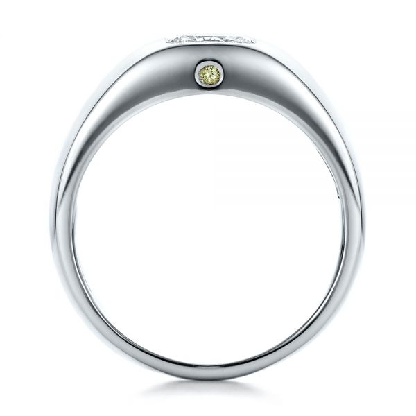 Custom Diamond and Peridot Men's Wedding Band - Front View -  100267 - Thumbnail