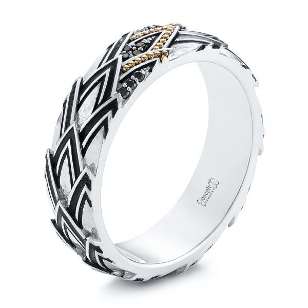 Custom Dragon Scale Two-Tone Black Diamond Men's Band - Three-Quarter View -  104842 - Thumbnail
