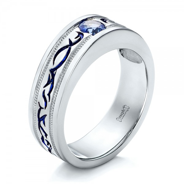 Custom Engraved Blue Sapphire Men's Wedding Band - Three-Quarter View -  102213 - Thumbnail