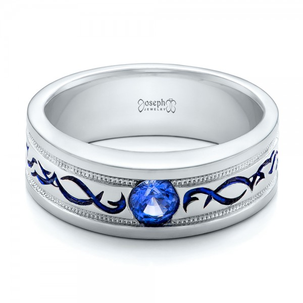 Custom Engraved Blue Sapphire Mens Wedding Band 102213