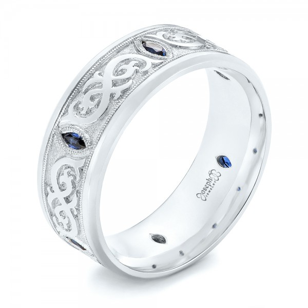 Custom Engraved Blue Sapphire Men's Wedding Band