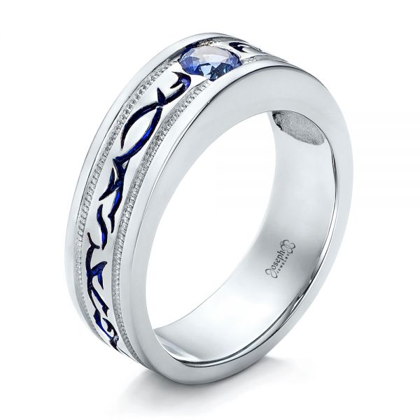 Custom Engraved Blue Sapphire Men's Wedding Band - Image