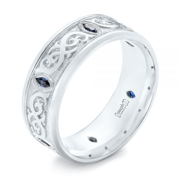 14k White Gold Custom Engraved Blue Sapphire Men S Wedding Band