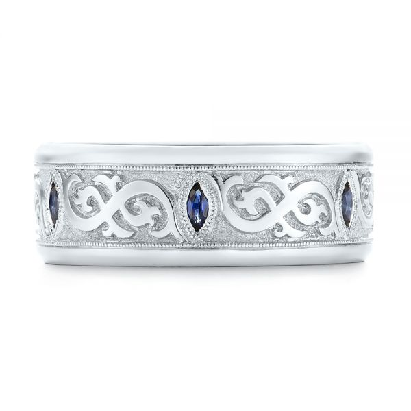 Platinum Custom Engraved Blue Sapphire Men's Wedding Band - Top View -  103237