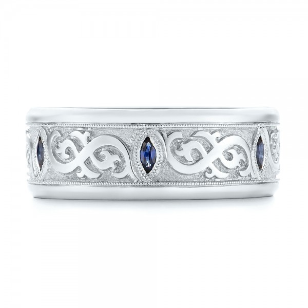 Custom Engraved Blue Sapphire Men's Wedding Band - Top View