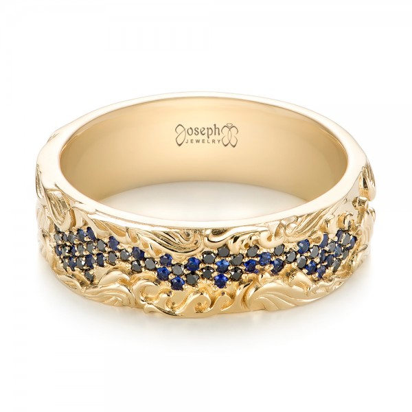 Custom Engraved Blue Sapphire And Black Diamond Mens Band 103410